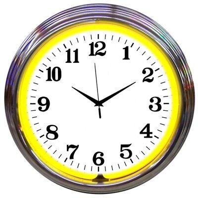 Chrome Yellow Standard Neon Clock -
