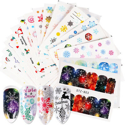 Winter Coloring Sheet (30 Sheets Winter Christmas Nail Art Water Transfer Stickers Decals Cover)