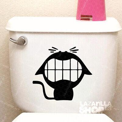 Pegatina Stiker Vinilo GATO WC Pegatina para ASEO puerta del baño Toilet...