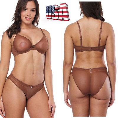 Sexy Underwire (US Women Sexy Mesh Lace Underwire Bra Set Plus Size Underwear & Panties BCDEF )