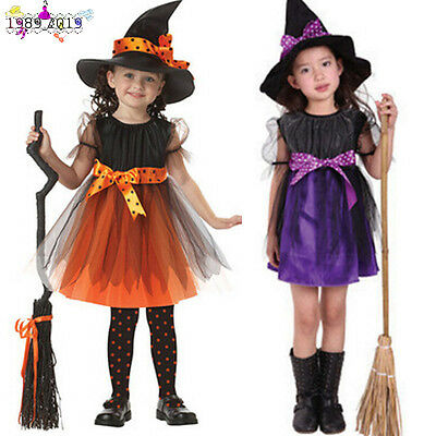 Toddler Kids Baby Girls Halloween Costume Bowknot Dress Party Dresses+Hat Outfit ()