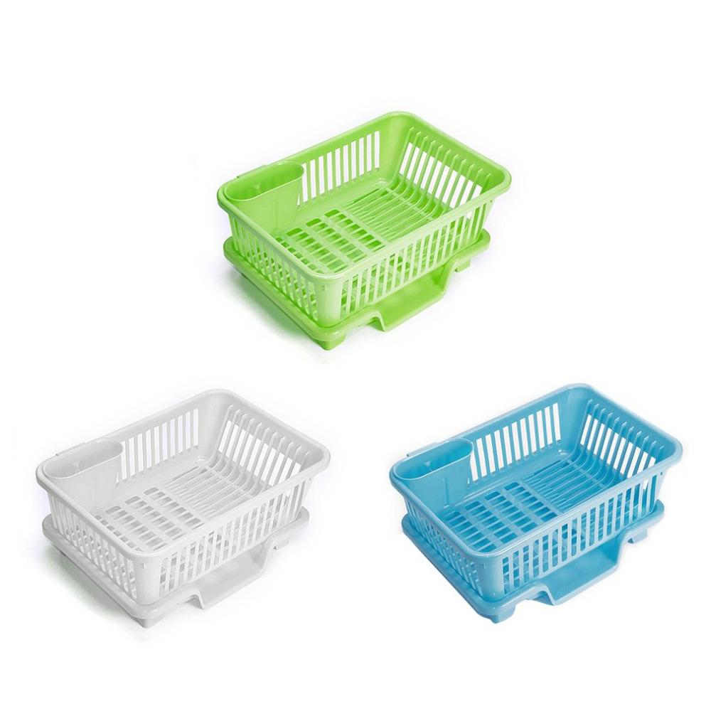 Kitchen Draining Rack Storage Box Cutlery Holder Cage Water Drain Dishes Shelf