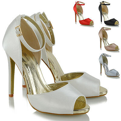 Satin High Heel Peep Toe - Womens Ankle Strap High Heel Sandals Ladies Peep Toe Cut Out Satin Party Shoes