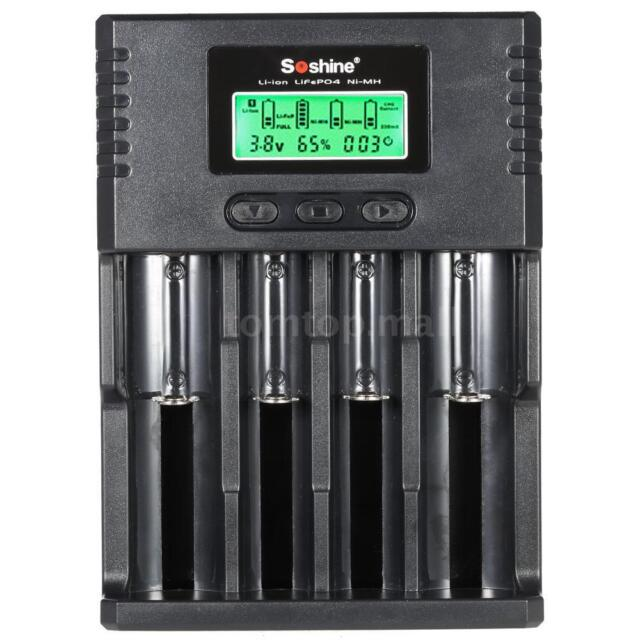 4CH 3.7V/3.2V Battery Charger For 18650 26650 AA AAA Rechargeable Li-ion EU S8J9