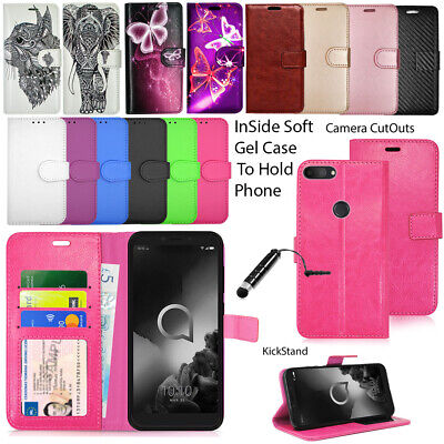 For Alcatel 1S 5024D (2019) Phone Case Wallet Leather Cover Book Flip + Stylus