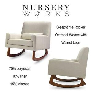 New Nursery Works Sleepytime Rocker Oatmeal Weave With Walnut Legs Condtion