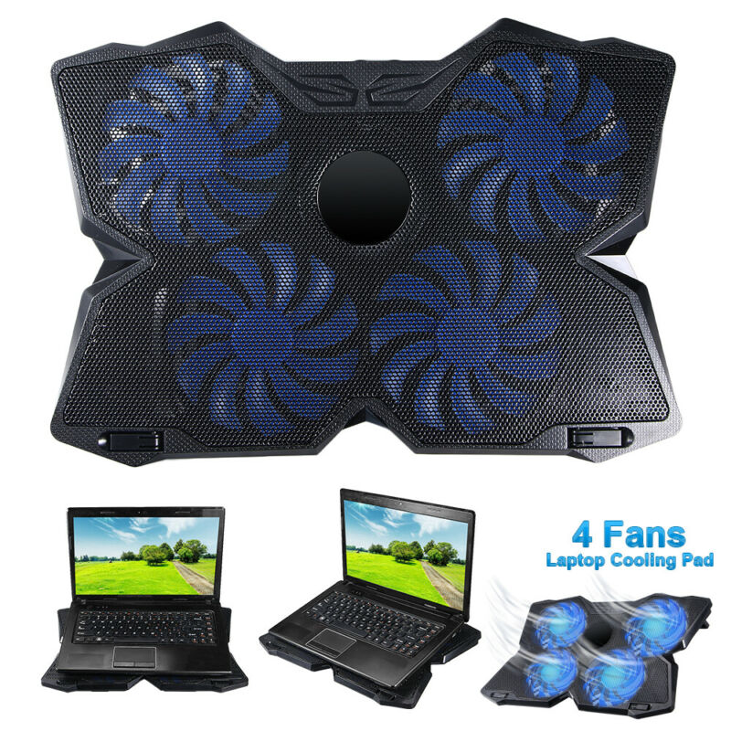 USB Laptop Cooler Cooling Pad Stand Adjustable Fan Blue LED For Game PC Notebook