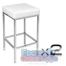 Set of 2 PU Leather Kitchen Bar Stool White West Melbourne Melbourne City Preview