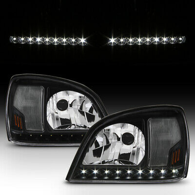 Black 2000-2005 Cadillac Deville LED Strip Headlights Headlamps 00-05 Left+Right