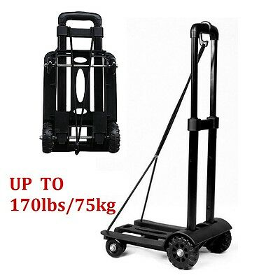 75kg Folding Cart Dolly Push Luggage Hand Truck Collapsible Trolley W/ Rope