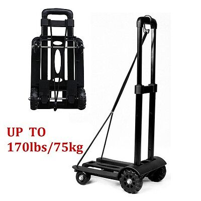 75kg Folding Cart Dolly Push Luggage Hand Truck Collapsible Trolley W Rope