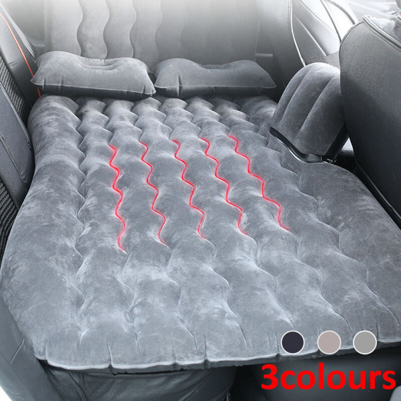 2 Pillows For Travel Camp+Beige Car Inflatable Air Bed Mattress Back Rear Seat