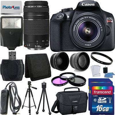 Canon Rebel T6 Digital SLR Camera + 32GB Top Value Bundle + 18-55mm + 75-300mm