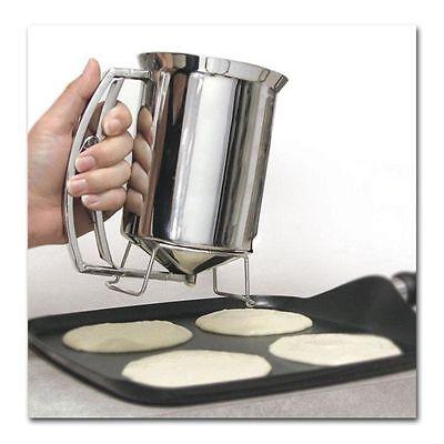 Pancake Batter Dispenser Stainless Steel Cupcake Waffle Muffin Cake Baking Easy