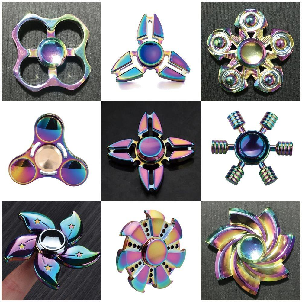 $5.99 - Colorful Rainbow Aluminum Metal Tri Hand Finger Spinner Fidget EDC Desk Toy Gyro