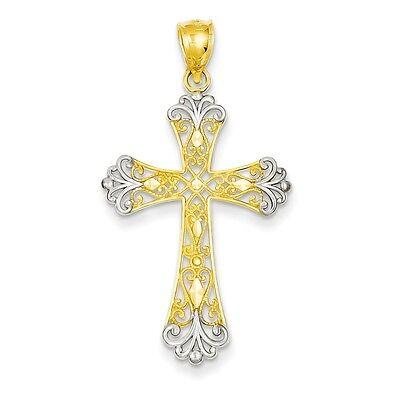 14K Gold Two-tone Fancy Diamond-cut Filigree Cross Charm Pendant  1.5 Inch 14k Filigree Cross Pendant