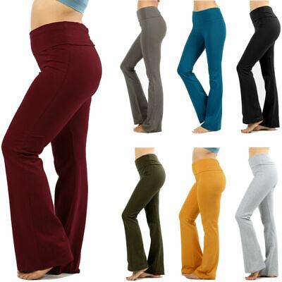 Womens Plus Size Yoga Pants Flare Leg Fold Over Waist Bootcut Gym Workout Cotton Waist Yoga Pants