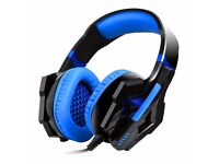 Gaming Headset, Stereo LED Lighting Over-Ear Headphones w Noise Cancelling Volume Control