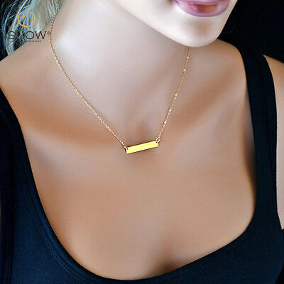Women Summer Fashion Jewelry Gold Bar Pendant Long Chain Statement Necklace