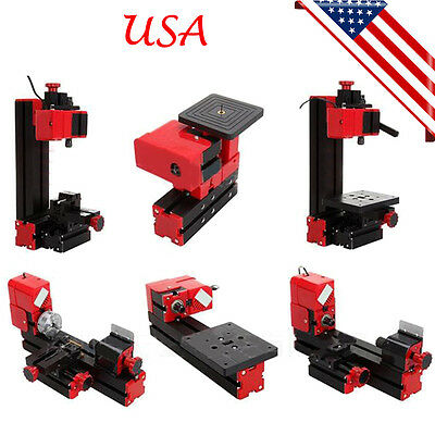 6in1 Micro Lathe Diy Machine Jigsaw Milling Drilling Sanding Wood-turning Metal
