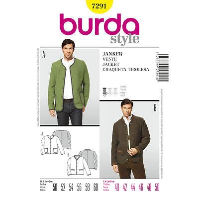 Burda 7291 SEWING PATTERN German Jacket Traditional Folkwear Men Costume 40-50