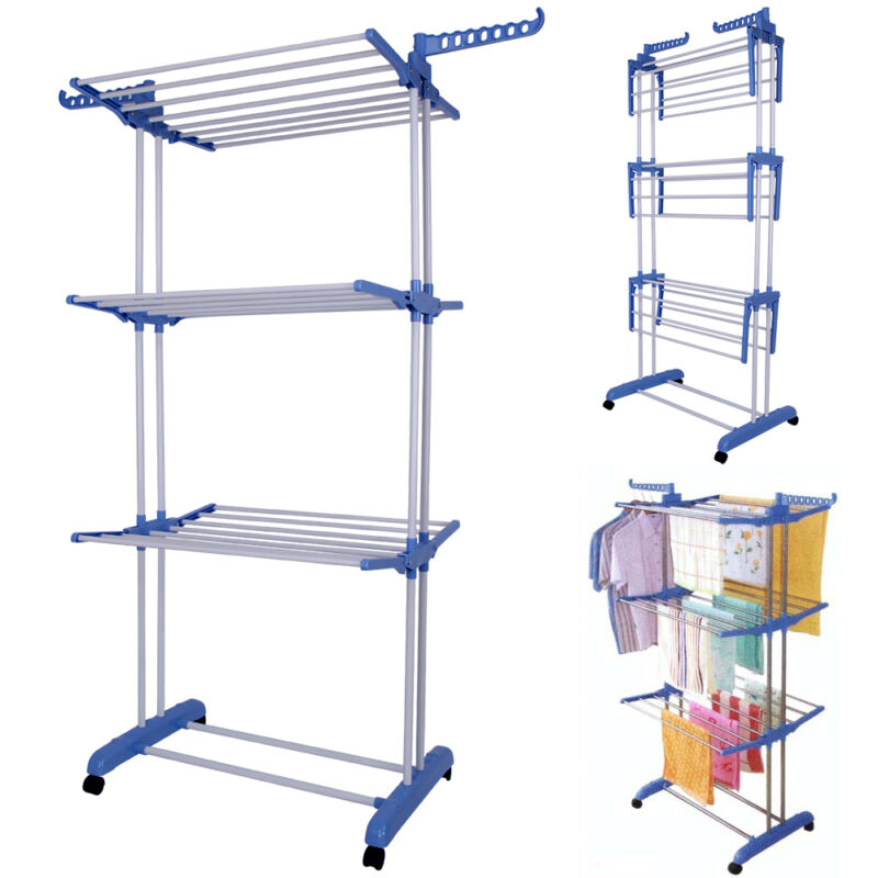 foldable extra large 3 tier indoor outdoor clothes airer laundry dryer rack new ebay. Black Bedroom Furniture Sets. Home Design Ideas