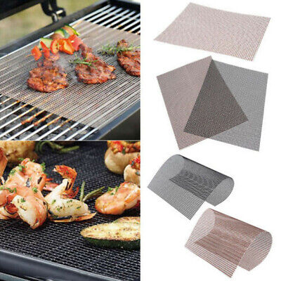 3X BBQ Grill Mesh Non-Stick Mat Reusable Sheet Resistant Cooking BakE BarbecueAR