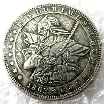 US Hobo 1893 Morgan Dollar Samurai Soldier Coin