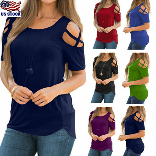 women summer blouse tops short sleeve solid