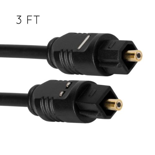 3FT Optical Fiber Optic Toslink Digital Audio Cable SPDIF Co
