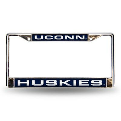 Connecticut UCONN Huskies Chrome Metal Laser Cut License Plate Frame