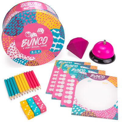 - Bunco | 12-Player Party Dice Game Includes Dice, Scorecards, Bell, and More