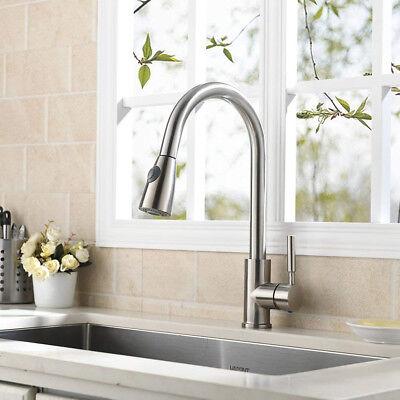 VAPSINT Best Modern Single Handle Brushed Nickel Kitchen Faucet, Pull-Out Sink