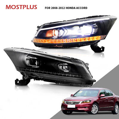 LED Headlights DRL Projector For Honda Accord 2008-2012 Dual Beam Front Lamps Dual Projector Headlights