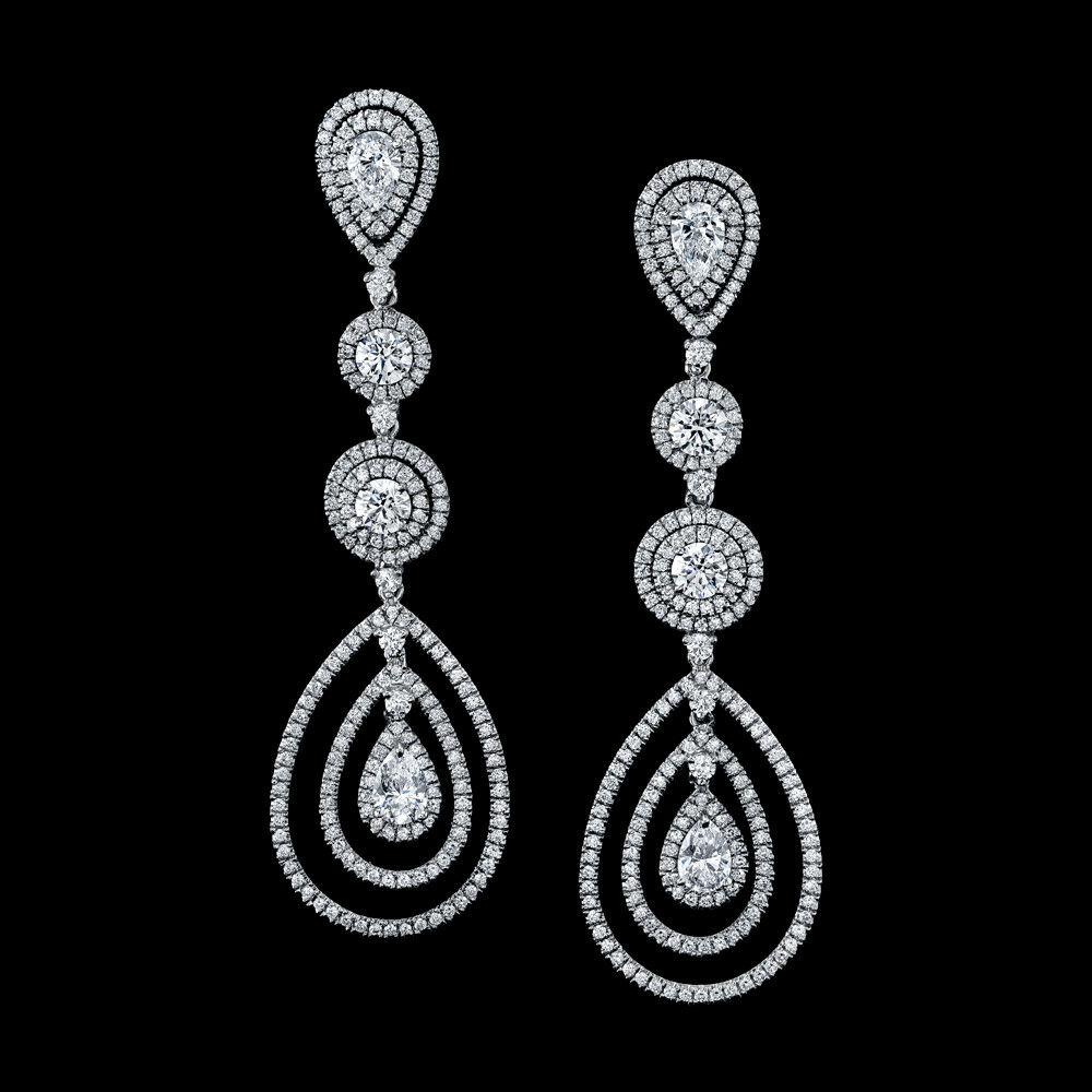 Diamond Chandelier Earrings 6.00 Carats  Total Weight 18K White Gold (GIA Certs)
