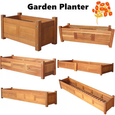 Wood Garden Planter Box Yard Rectangle Flower Veg Succulent Container Plant Pot](Wood Planter Boxes)
