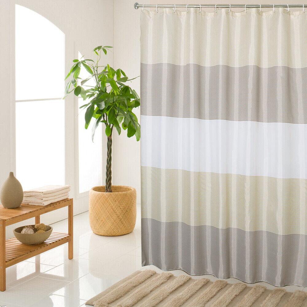 Bathroom Beige Shower Curtain Stripes Sets Men Women Brown B