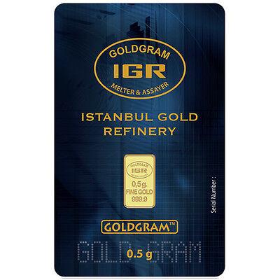 1 2 Gram Igr Istanbul Gold Refinery Bar 9999 Fine In Assay Card