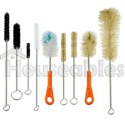 Ultimate Bottle & Tube Brush Cleaning Set 9 Sizes & Shapes - Natural & Synthetic