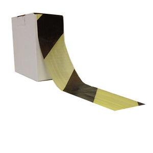 1 Roll of  HAZARD WARNING BARRIER TAPE Non Adhesive Black & Yellow 72mm x 500m