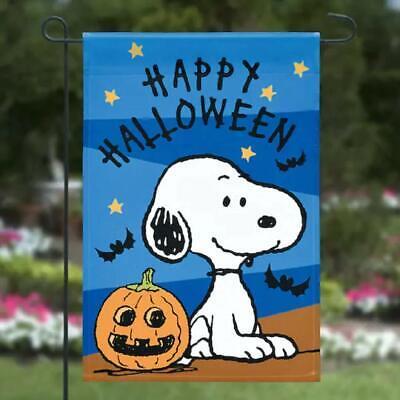 "NEW Peanuts SNOOPY ""HAPPY HALLOWEEN"" GARDEN FLAG bats pumpkin"