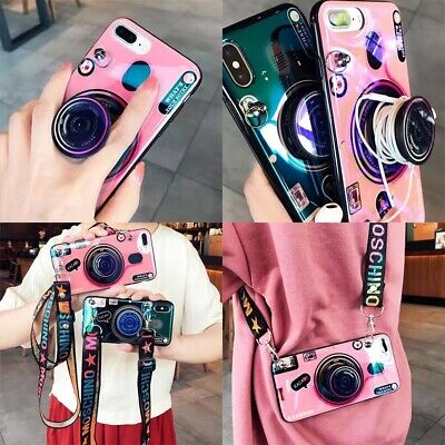 Camera Style Pink/Blue iPhone Case- POP/Wrist Strap/Lanyard For X XS 11 11Pro.