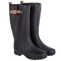 Rouchette Womens Buckled Wellington Boots - Black Wellies - Various Sizes - rouchette - ebay.co.uk