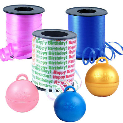 Curling ribbons and weights for helium balloons - Balloon ribbons PINK BLUE GOLD](Blue And Gold Balloons)