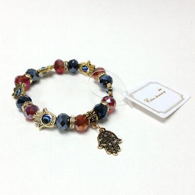 Hand of Hamsa Fatima Evil Eye Beaded Jewelry Bracelet Antique Gold Brass Color