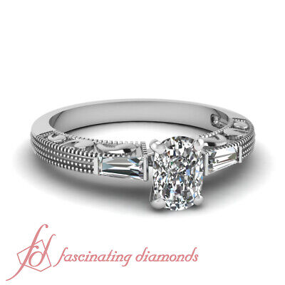 .85 Ct Cushion Cut Diamond Vintage Engagement Ring With White Gold For Women GIA