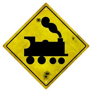 RAILWAY STEAM TRAIN WARNING TIN SIGN RUSTIC