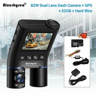 """Blueskysea B2W (+GPS +Hard Wire +32GB) Dash Cam, 2"""" FHD 1080P, Dual Lens, Wi-Fi"""