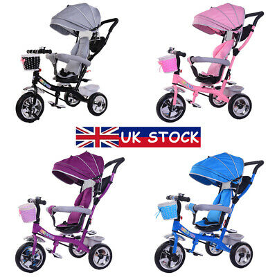 4 in 1 Baby Kids Trike Tricycle Toddlers 3-Wheel Pedal Bike Girls Boys Toy Gifts
