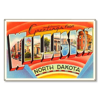 Williston North Dakota ND Postcard Metal Sign Wall Decor STEEL not tin 36x24